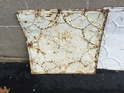 "GORGEOUS antique VICTORIAN tin ceiling pressed white BOW pattern 4 - 24"" sq pcs 2"