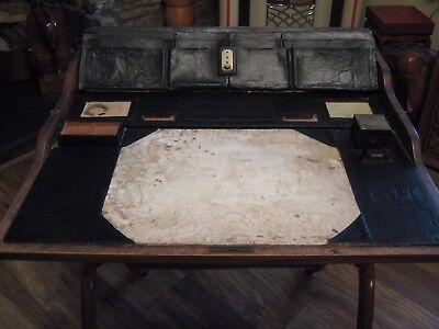 Wonderful Late Georgian Mahogany Folding Campaign Desk + Stool / Seat.