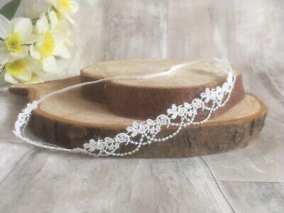 Baby Girl Ivory Christening Headband Baptism Wedding Lace Pearl Hairband Bow 6