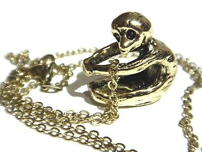 BRASS SILVER or COPPER BABY SLOTH NECKLACE hanging animal charm pendant cute 3G 9
