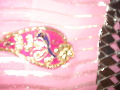 Ladies / Girls Pink Chiffon Saree With Silver Stripes & Zari Border 5