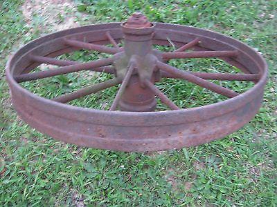 """Vintage Rustic Iron Farm Implement Wheel 32"""" diameter x 4"""" wide Farm decor 8"""