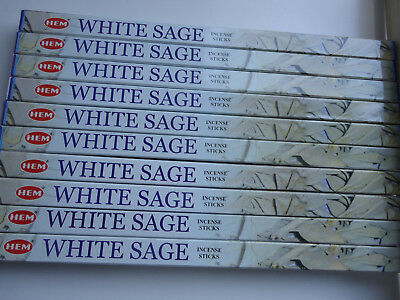 80 Incense Sticks - WHITE SAGE - HEM BRAND - 10 Boxes x 8g- Fresh Stock 2