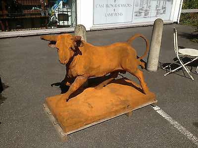 Large Cast Iron Bull,Raging Bull , El Toro ,Taurus sign Sculpture of Red Bull 2