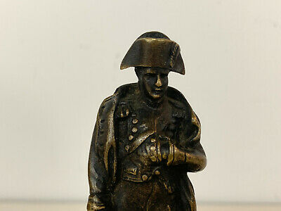 Antiguo 19th Siglo Bronce Napoleon Waterloo Figura / Estatua sobre Pizarra 6