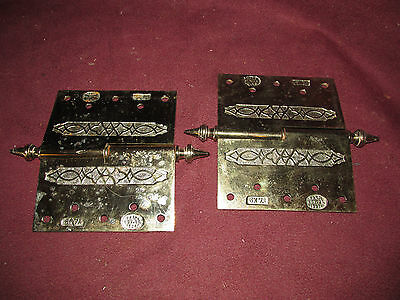 Pair Antique Victorian Large Fancy Hardware Hinges Dated 1871 8