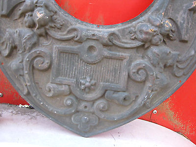 Antique Bronze Copper Nude Cherub Urn Panel Stove Hearth Art Frame Flue Plaque 5