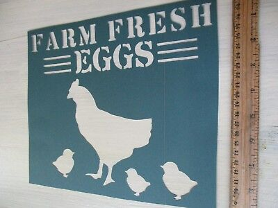 NEW Primitive Vintage look FARMERS MARKET antique rooster cow cardstock STENCIL