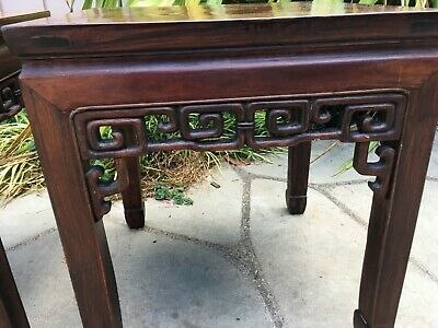 2 RARE ANTIQUE CHINESE HUANGHUALI WOOD SIDE TABLE  wood asian art chair 5