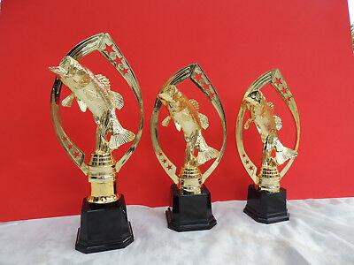 Pokal Pokale 3er Serie Angeln Angel Barsch Fisch GOLD incl. Gravur NEUHEIT 2018