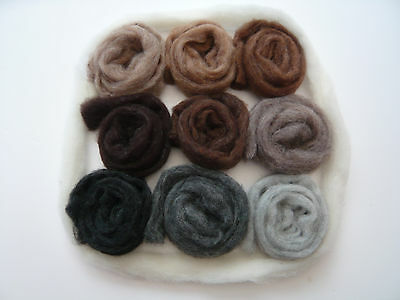 Heidifeathers® 'Menagerie Mix' 10 blended Natural Wool Slivers - Felting Wools 2