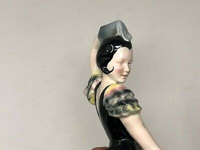 Bailarina Porcelana Alemana de Aprox. 1930 Art Deco Statutette Alemania 4