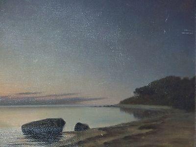 *Marius Nielsen* Listed Danish Artist Antique Seascape Oil On Canvas Painting 3