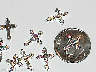 2 Pc Miniature dollhouse tiny Flatbacks crystal Black vampire angel CROSS 8x10mm