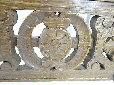 """14"" Antique French Oak Wood Carved Pediment Panel Ornament - Lions 9"