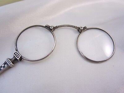 *MH749* Antiker Lorgnon Klappbrille Nielo Tulasilber um 1900