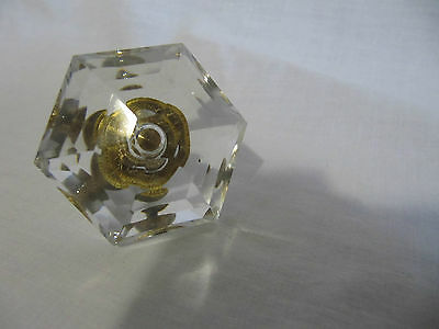 Vintage Clear Glass Ornate Drawer Pull With Brass Screw 2