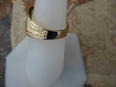 14 KT Yellow Gold Polished Byzantine Finish Etruscan Design Cigar Band Ring NEW 5