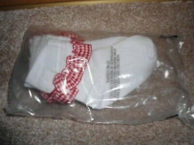 Girls 3 Pack Frilly Red Gingham Ankle Socks Size 6-8.5 Brand New 4