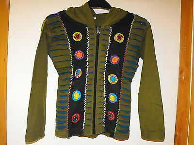 Children boy girl hippie festival Nepal razor cut pixie hood jacket small NEW 4