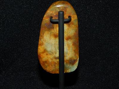 Pre-Columbian Ceremonial Jade Pendant, Custom Stand, Blue Jade, Translucent Jade 3