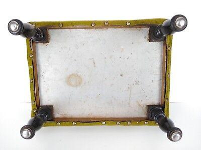 Antique 1800's Victorian Green Velvet Wooden Footstool 5