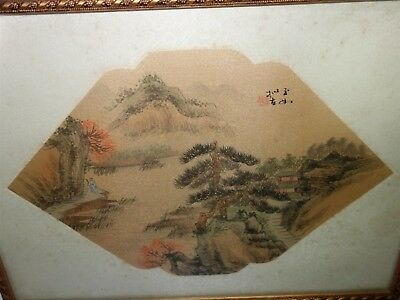 Rare Antique Chinese Fan Original Painting on Silk Fantastic Country Landscape 10