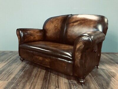 Restored Original 1920's Art Deco Club Sofas In Hand Dyed Leather 9