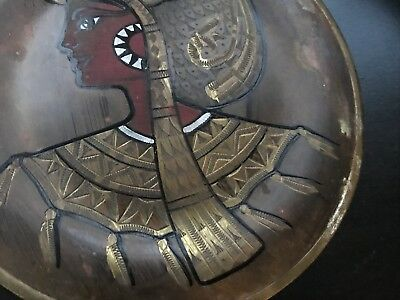 Pair of Vintage Copper Brass Silver Egyptian Plates - wall hangings 5