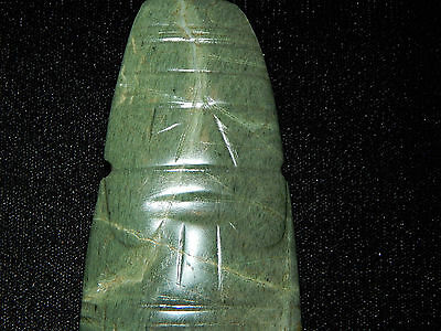 Pre-Columbian Jade Ceremonial Shaman Axe God Pendant, Authentic, Rare