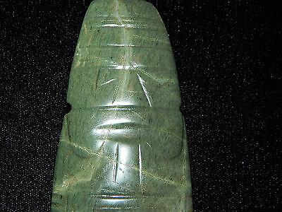 Pre-Columbian Jade Ceremonial Shaman Axe God Pendant, Authentic, Rare 2
