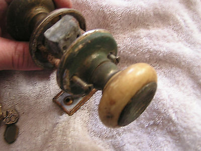 Vintage Set 2 Door Knobs with Rod 5