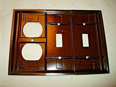 Vintage Smith & Stone Bakelite 3 Gang Brown Ribbed Combo Wall Plate Nos 302-6 3
