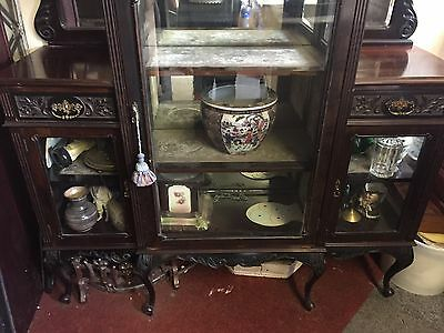STUNNING MIRROR BACKED EMPIRE CABINET CARVED GLASS DISPLAY 7ft ANTIQUE 4