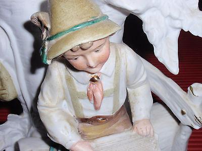 Antique German Bisque / Porcelain Vase / Figurine Boy With Lyre G Dep 7