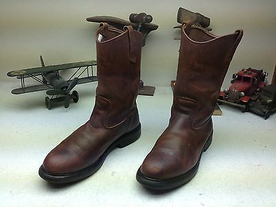ce9cf63430c DISTRESSED VINTAGE MADE In Usa Red Wing Brown Oil Rig Engineer Boots Size  10.5 D