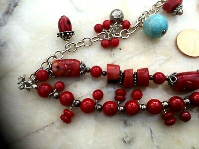 Vintage Chinese Coral And Turquoise 3 Strings Bracelet 4