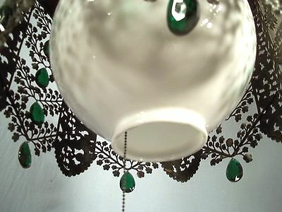 A WONDERFUL EARLY 20th CENTURY 6 SIDED PIERCED TIN FLORAL DECORATED CHANDELIER 9