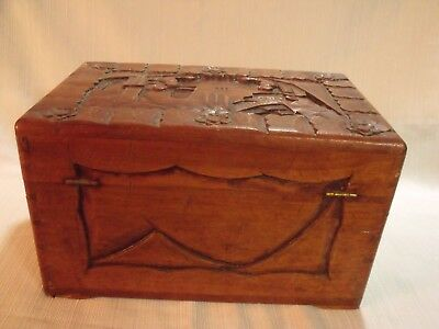 "Ornate Antique Chinese Hand Carved Camphorwood 12"" Dresser Box 5"