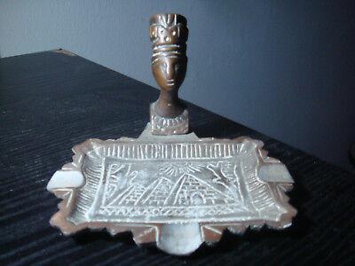Ancient Egyptian Queen Nefertiti - Bronze bust on ashtray base 3