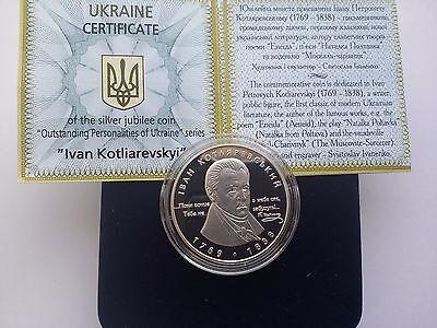 "Ukraine,5 hryven coin /""Ivan Kotlyarevsky/"" Silver 2009 year"