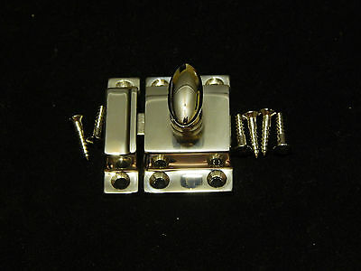 Cabinet Latch Brass Heavy Cast Nickel Plated