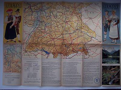 Germany Federal Republic Southern Part (Munich Bavaria) Map Vintage Pre-War 5