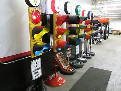 Large Traffic Light Gas Pump Globe Sign Pole Harley Coke OK Cars Corvette 12