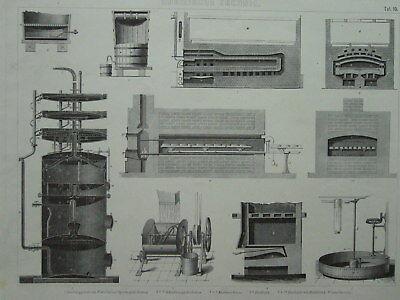 Chemie 10 Tafeln. Chemische Technik Brockhaus Bilder Atlas 1878