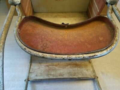 Antique Vintage Metal & Wood Oak Hill Co. Toddlers/Doll Rocker Playchair 5