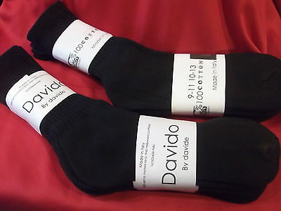 Davido Mens socks crew 100% cotton made in Italy color black 6 pack size 10-13 2