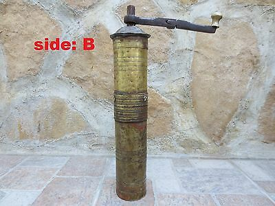 Primitive Antique Ottoman Brass-Carved TUGRA Marked Hand Coffee Grinder 19th #04 5