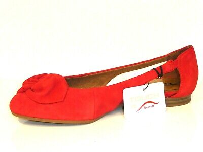 TAMARIS SCHUHE PUMPS Ballerina Runa rot fire Leder Touch it
