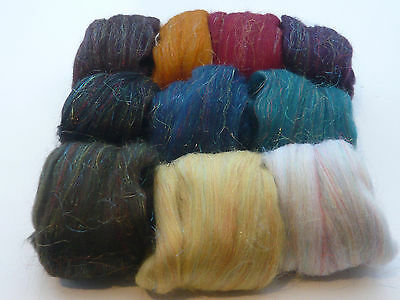 Heidifeathers®  'Shimmer Mix' Merino Wool Tops With Sparkle  - Felting, Spinning 2